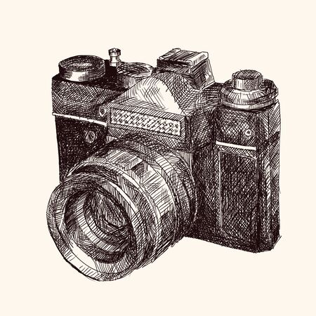 Film retro camera. Hand sketch in vector.