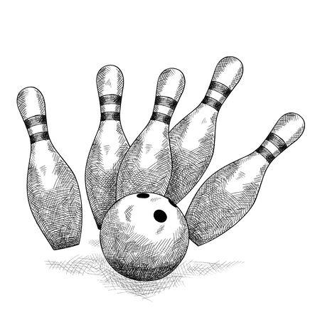 Bowling ball breaks six skittles Pencil sketch.