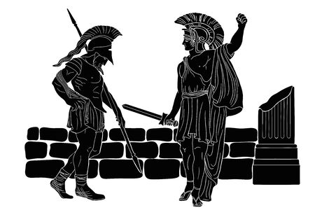 Two ancient Greek warriors with weapons in their hands near a stone parapet. 向量圖像