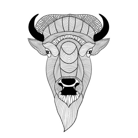 Muzzle of a bison. Graphic drawing for coloring. Isolated on white background.