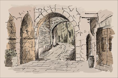 Street of the ancient city with stone houses and an arch. 向量圖像