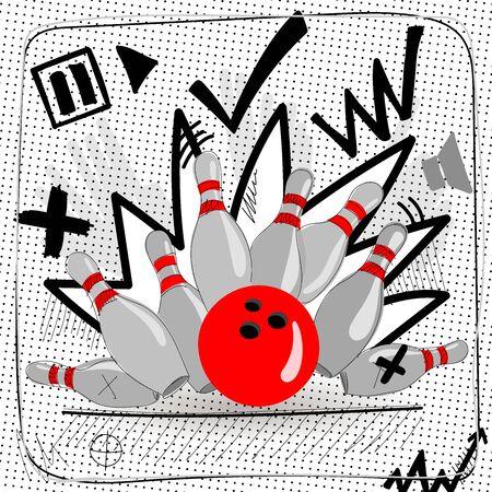 Ball and skittles. 写真素材 - 132687869