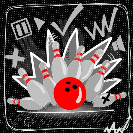 Red bowling ball breaks six skittles. Vector image on a black background.