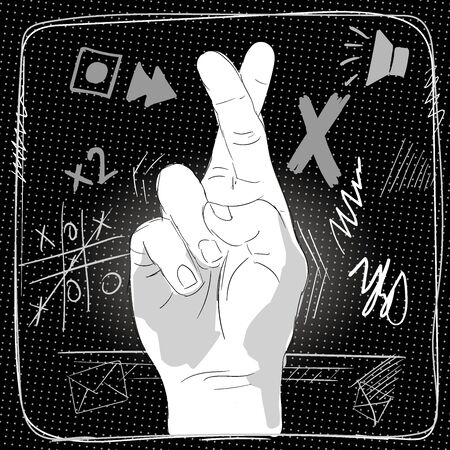 The human hand shows a gesture with crossed fingers. 向量圖像