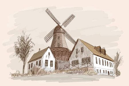 Landscape with a mill.