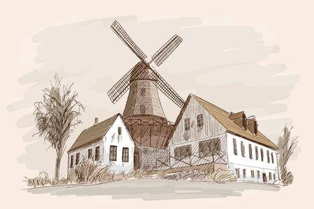 Landschaft mit einer Mühle.