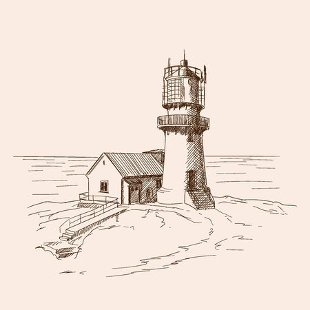The lighthouse on the stone shore.