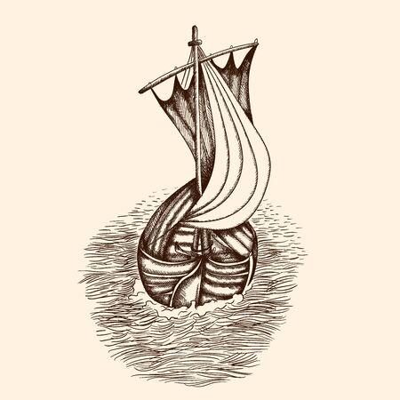Old pirate ship. Иллюстрация