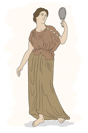 An ancient Greek woman in a tunic standing, holding a mirror in his hand and looking into it. Vector image isolated on white background.