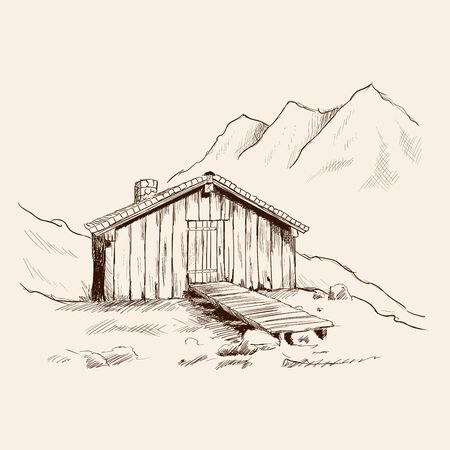 A small wooden house with a stone pipe in the mountains. Иллюстрация