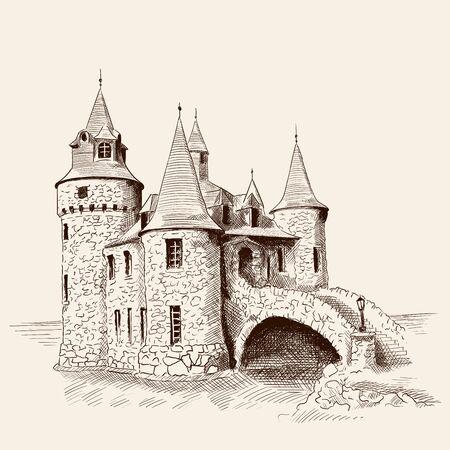 Medieval castle and bridge. Ilustração