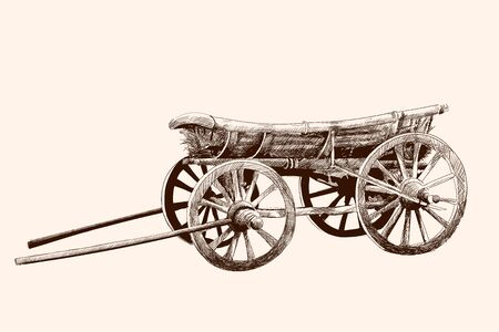 An old wooden cart on four wheels for a horse harness. Pencil drawing by hand. Иллюстрация