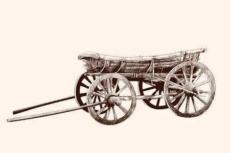 Een oude houten kar op vier wielen voor een paardentuig. Potloodtekening met de hand.