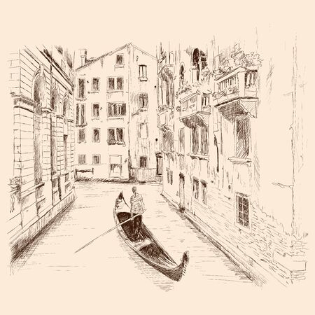 Venetian landscape with a boat. 向量圖像