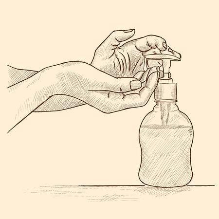 Les mains des femmes prennent le savon du distributeur.