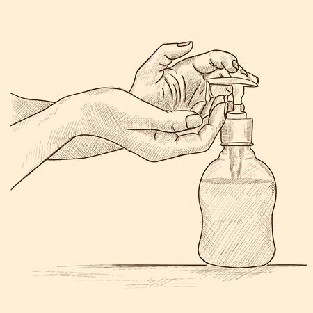 Womens hands take soap from the dispenser.