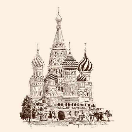 St. Basils Cathedral on Red Square in Moscow. Russia. Pencil sketch on a beige background.