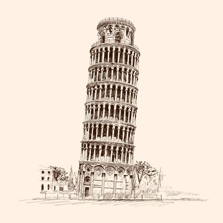 Leaning Tower of Pisa. Italy,. Pencil sketch on a beige background.