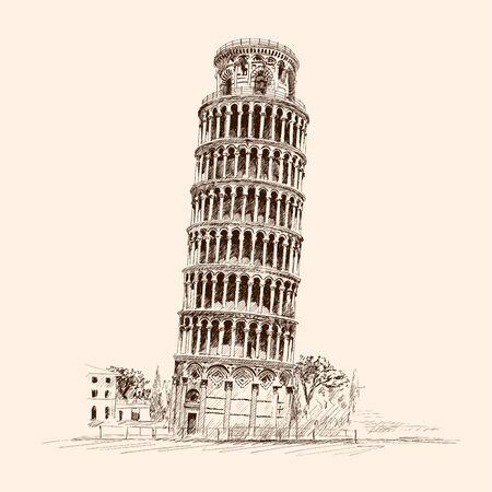 Torre inclinada de Pisa. Italia,. Dibujo a lápiz sobre un fondo beige.