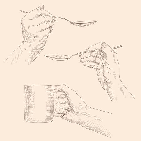 Female hands hold cutlery mug and spoon. Pencil sketch on a beige background. Ilustrace