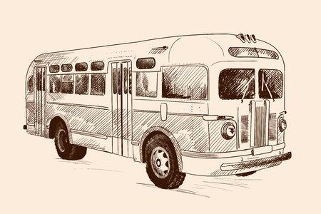 Vintage vintage bus. Pencil sketch on beige background.