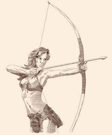 Amazon woman with a bow and arrow pulls her aunt and prepares for a shot. Ilustração