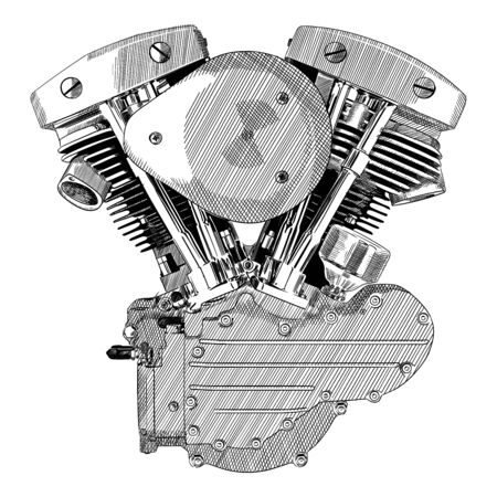 Motorcycle engine of internal combustion isolated on a white background.