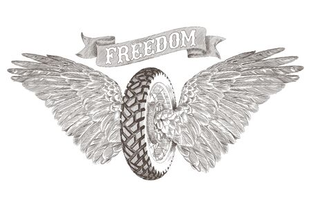 A motorcycle wheel, two open feather wings of birds and a ribbon with the inscription freedom. Vector illustration isolated on white background.