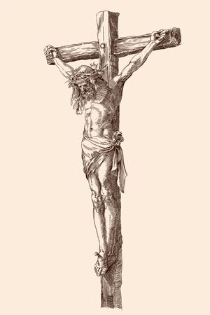 Jesus Christ crucified on a wooden cross. Vector illustration of a figure isolated on a beige background. Detail of an engraving by Albrecht Durer, Nunberg, 1508.