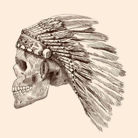 Human skull of an Indian chief with a crown of eagle feathers. Hand drawing isolated on a beige background.