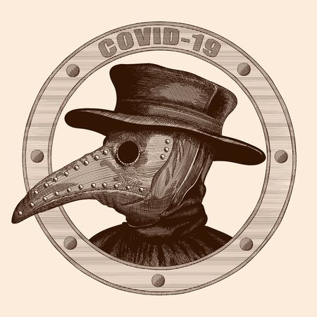 A plague doctor in a mask with a long beak and hat. Vector image stylized as engraving. Ilustração