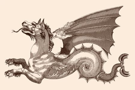 Dragon with wings, open mouth and protruding tongue. Vector drawing in the style of medieval engraving.