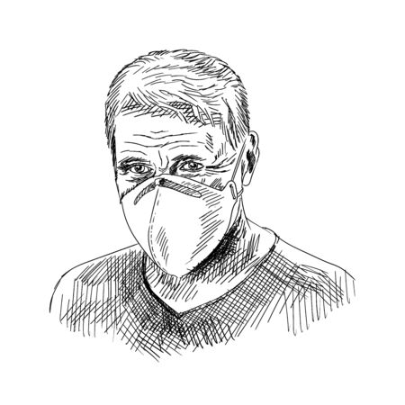 Middle-aged man in a medical respiratory mask on his face. Quick pencil sketch. Ilustração