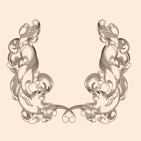 Vintage antique ornament in classic style for print design isolated on a beige background. Ilustração