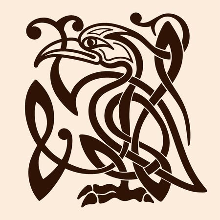 Celtic national ornament in the form of bird isolated on a beige background. Ilustração