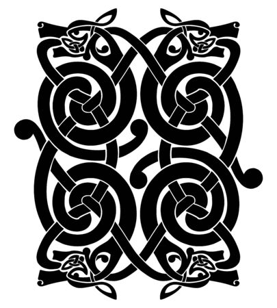 Celtic national ornament with the heads of four dogs isolated on a white background.