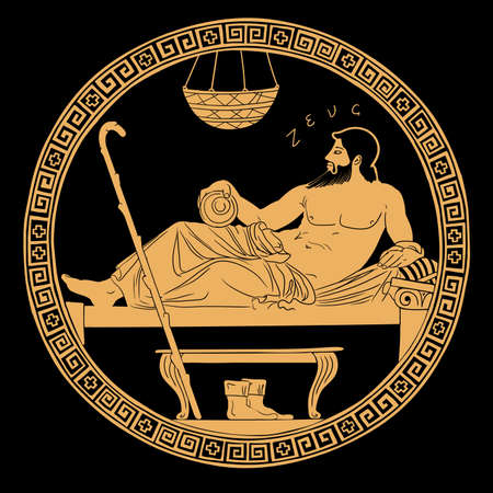 The ancient Greek god Zeus lies on the bed. Art painting on clay pottery. Vettoriali
