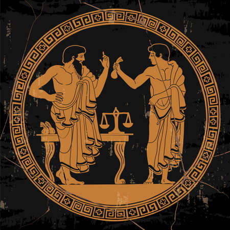 Two ancient Greek men in tunics in the market stand and conduct dialogue. Antique painting on the dishes.
