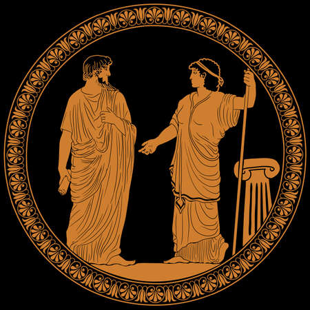 An ancient Greek man with a scroll in his hand is talking to a woman with a staff. Two figures isolated on a black background. Antique painting on the dishes.