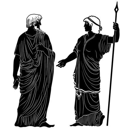 An ancient Greek man with a scroll in his hand is talking to a woman with a staff. Two figures isolated on a white background.
