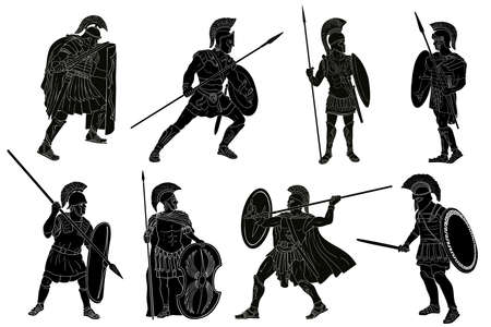 Ancient Roman warrior with a spear and shield in his hands is standing and looking away. Set of vector illustration isolated on white background.