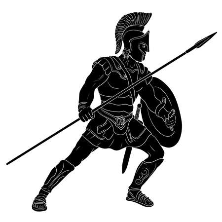 Ancient Roman warrior with a spear and shield in his hands is standing ready to attack. Vector illustration isolated on white background.