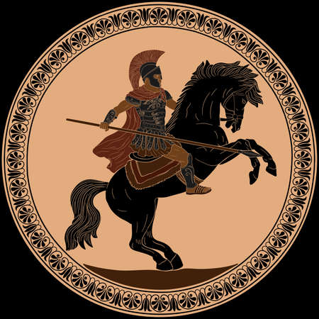 Ancient Roman warrior with a spear in his hands is riding a horse ready to attack. Vector illustration Antique painting on the dishes.