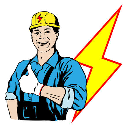 A man electrician in a working uniform and a helmet on his head shows a gesture of approval.