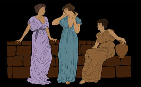 Three ancient Greek women in tunics near a stone parapet are having a dialogue. Vector illustration in vintage style. Stock Illustratie