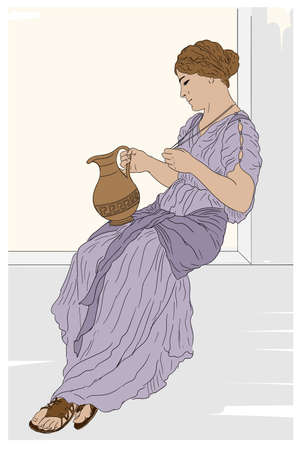 A young ancient Greek woman sits on a stone parapet and holds a jug of wine in her hand.