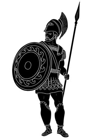 Ancient Roman warrior with a spear and shield in his hands is standing and looking away. Vector illustration isolated on white background.