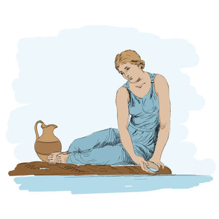 An ancient Greek young woman sits on the shore of a pond and draws water into a jug. Stock Illustratie