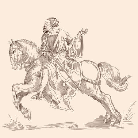 Knight on a horse. Isolated image in the style of medieval engraving.