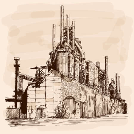 Industrial landscape with an old destroyed factory. Hand sketch on a beige background. Stock Illustratie